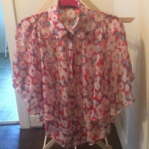 Ark & Co Floral Print Sheer Blouse